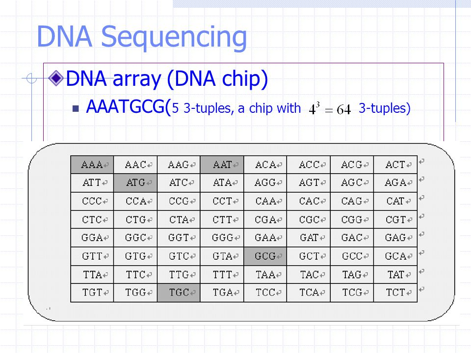 DNA Sequencing DNA array (DNA chip) AAATGCG( 5 3-tuples, a chip with 3-tuples)