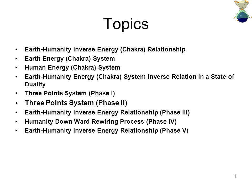 1 Topics Earth-Humanity Inverse Energy (Chakra) Relationship Earth Energy (Chakra) System Human Energy (Chakra) System Earth-Humanity Energy (Chakra) System Inverse Relation in a State of Duality Three Points System (Phase I) Three Points System (Phase II) Earth-Humanity Inverse Energy Relationship (Phase III) Humanity Down Ward Rewiring Process (Phase IV) Earth-Humanity Inverse Energy Relationship (Phase V)
