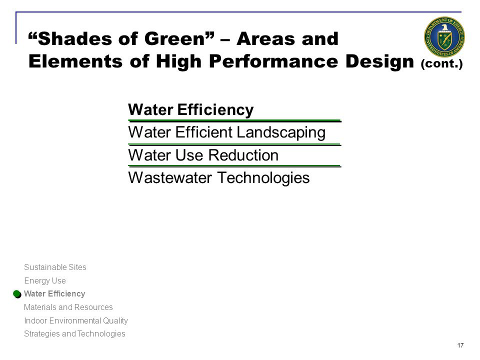18 Shades of Green – Areas and Elements of High Performance Design (cont.) Water Efficiency Water Efficient Landscaping Water Use Reduction Wastewater Technologies Native grasses and plants Rainwater Soil analysis No potable water used for landscaping