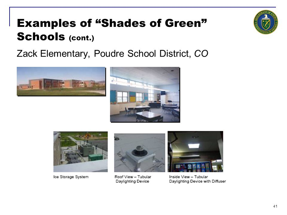 42 Examples of Shades of Green Schools (cont.) The Dalles Middle School, Columbia River T-5 Lights and Sensors Geo Exchange System Natural Lighting Light Tubes Natural Ventilation EMS Light Screens Light Shelves 50-60% less Energy Opened September 2002 Capacity: 600 LEED Gold BOORA Architects