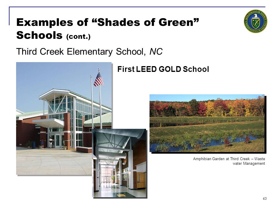 """43 Examples of """"Shades of Green"""" Schools (cont.) Third Creek Elementary School, NC First LEED GOLD School Amphibian Garden at Third Creek – Waste wate"""