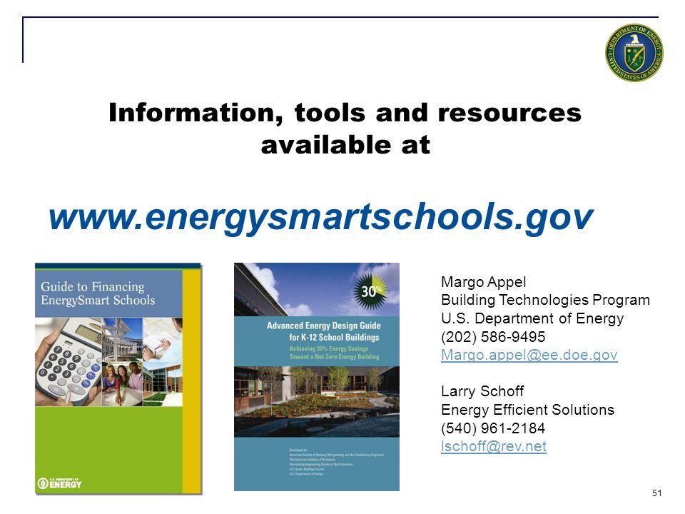 51 www.energysmartschools.gov Margo Appel Building Technologies Program U.S. Department of Energy (202) 586-9495 Margo.appel@ee.doe.gov Larry Schoff E