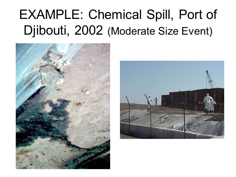 EXAMPLE: Chemical Spill, Port of Djibouti, 2002 (Moderate Size Event)