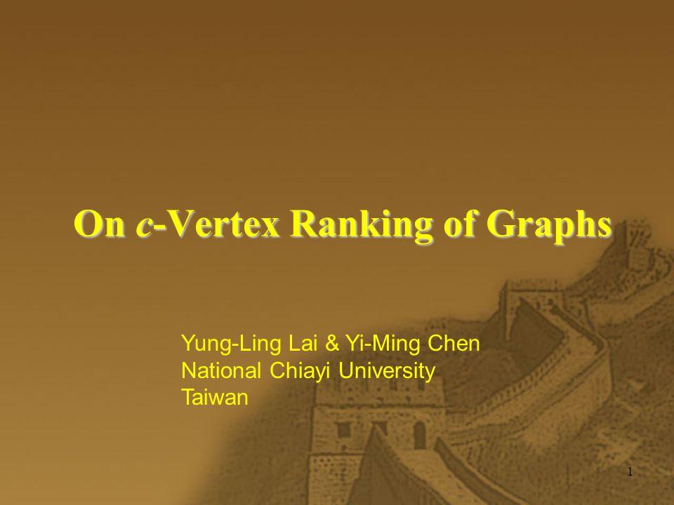 2 Vertex Ranking  f : V(G)  {1,2, …,k}  f (v) = f (u)  Every u-v path,  w such that f (w) > f (v)  k-rankable  vertex ranking number  r (G)