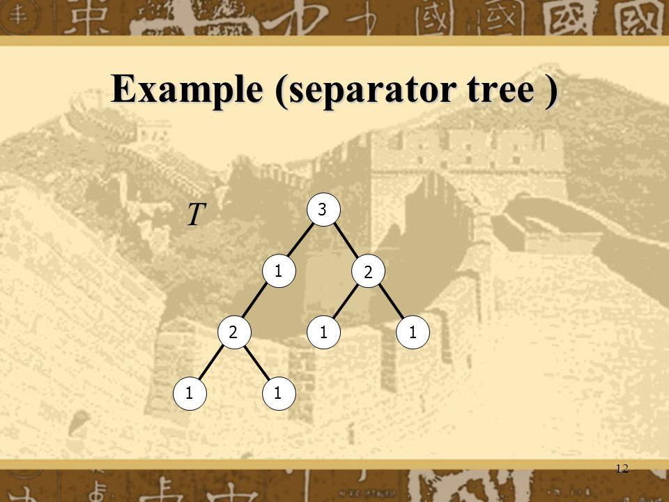 12 Example (separator tree ) 1 1 1 11 2 2 3 T