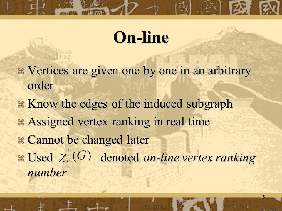 6 Example ( On-line) 1 1 1 11 2 2 3 T Off-line 3 2 2 34 1 1 5 T On-line v1v1 v2v2 v7v7 v4v4 v8v8 v3v3 v5v5 v6v6 n=8