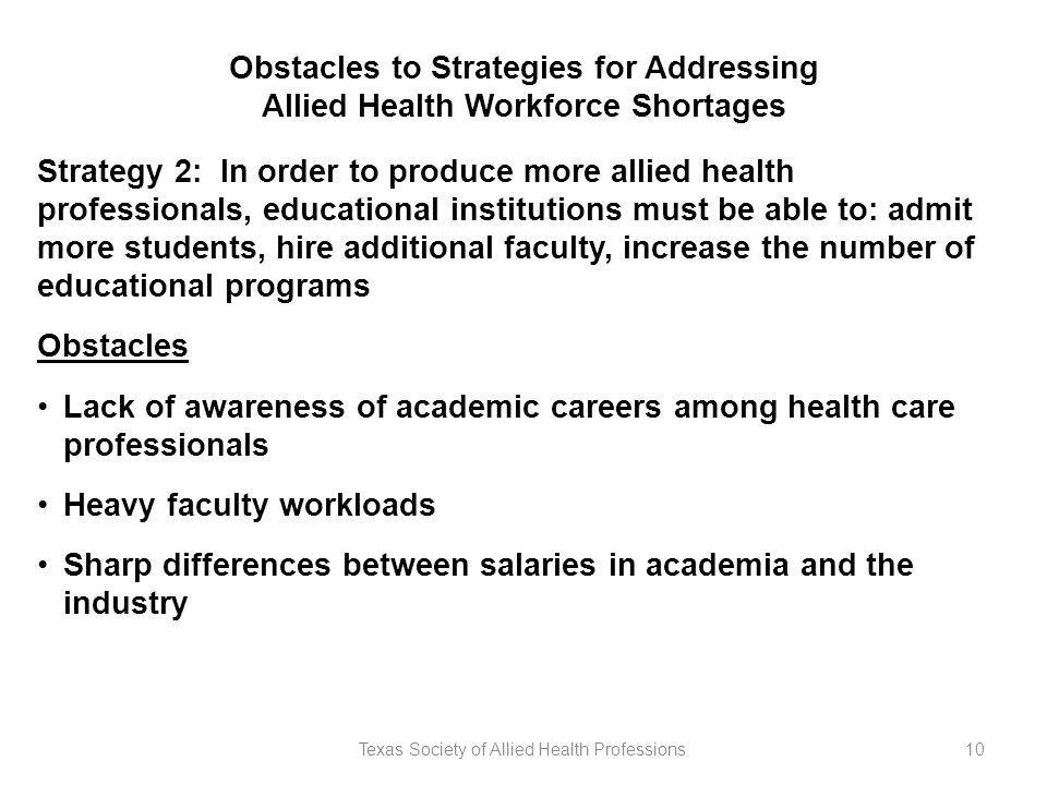 Texas Society of Allied Health Professions10 Obstacles to Strategies for Addressing Allied Health Workforce Shortages Strategy 2: In order to produce more allied health professionals, educational institutions must be able to: admit more students, hire additional faculty, increase the number of educational programs Obstacles Lack of awareness of academic careers among health care professionals Heavy faculty workloads Sharp differences between salaries in academia and the industry