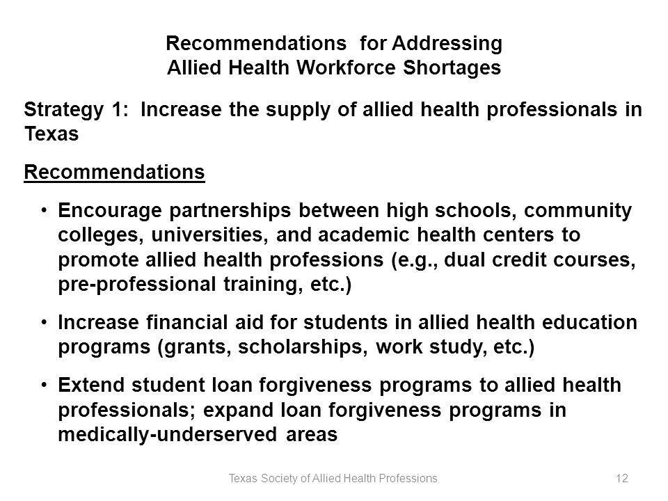 Texas Society of Allied Health Professions12 Recommendations for Addressing Allied Health Workforce Shortages Strategy 1: Increase the supply of allied health professionals in Texas Recommendations Encourage partnerships between high schools, community colleges, universities, and academic health centers to promote allied health professions (e.g., dual credit courses, pre-professional training, etc.) Increase financial aid for students in allied health education programs (grants, scholarships, work study, etc.) Extend student loan forgiveness programs to allied health professionals; expand loan forgiveness programs in medically-underserved areas