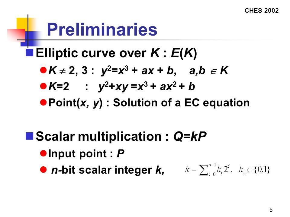 CHES 2002 5 Preliminaries Elliptic curve over K : E(K) K  2, 3 : y 2 =x 3 + ax + b, a,b  K K=2 : y 2 +xy =x 3 + ax 2 + b Point(x, y) : Solution of a EC equation Scalar multiplication : Q=kP Input point : P n-bit scalar integer k,