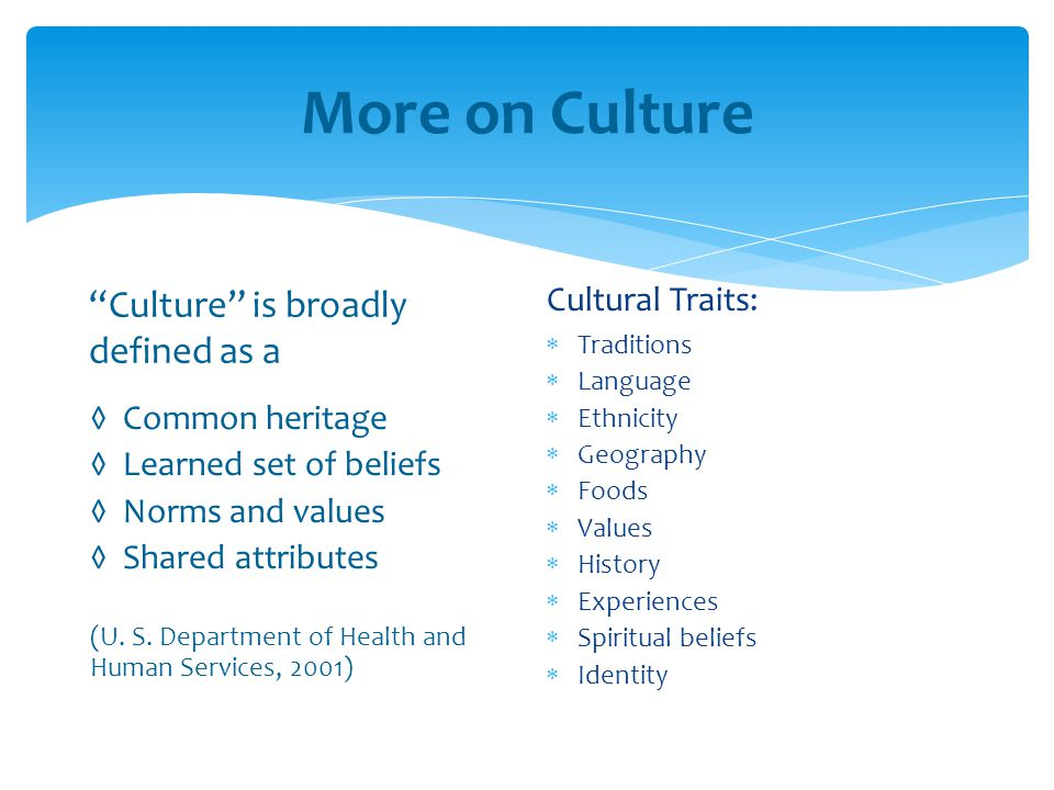 """More on Culture """"Culture"""" is broadly defined as a ◊ Common heritage ◊ Learned set of beliefs ◊ Norms and values ◊ Shared attributes (U. S. Department"""