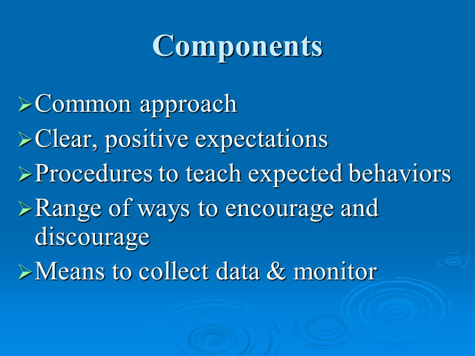 Components  Common approach  Clear, positive expectations  Procedures to teach expected behaviors  Range of ways to encourage and discourage  Means to collect data & monitor