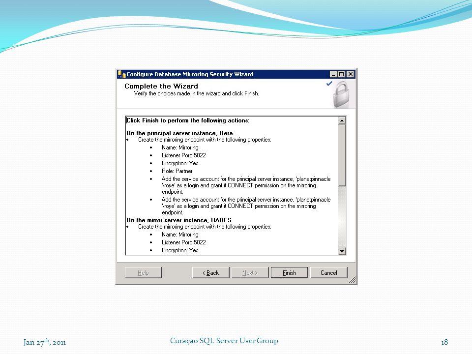 Jan 27 th, 201118 Curaçao SQL Server User Group