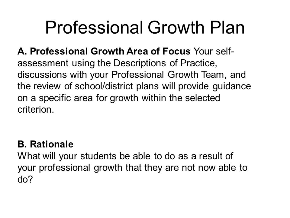 Professional Growth Plan A.