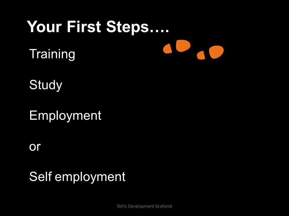 Your First Steps…. Training Study Employment or Self employment Skills Development Scotland