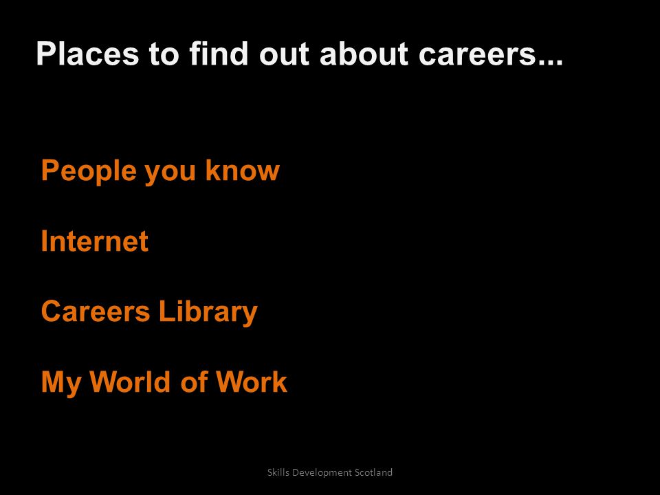 People you know Internet Careers Library My World of Work Places to find out about careers...