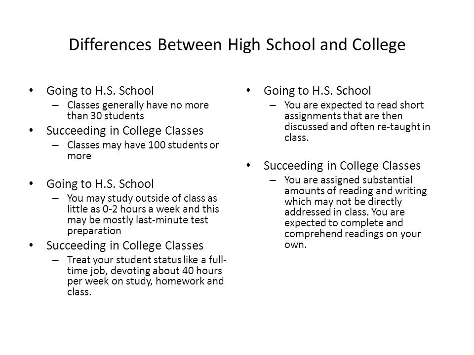 Differences Between High School and College Going to H.S.