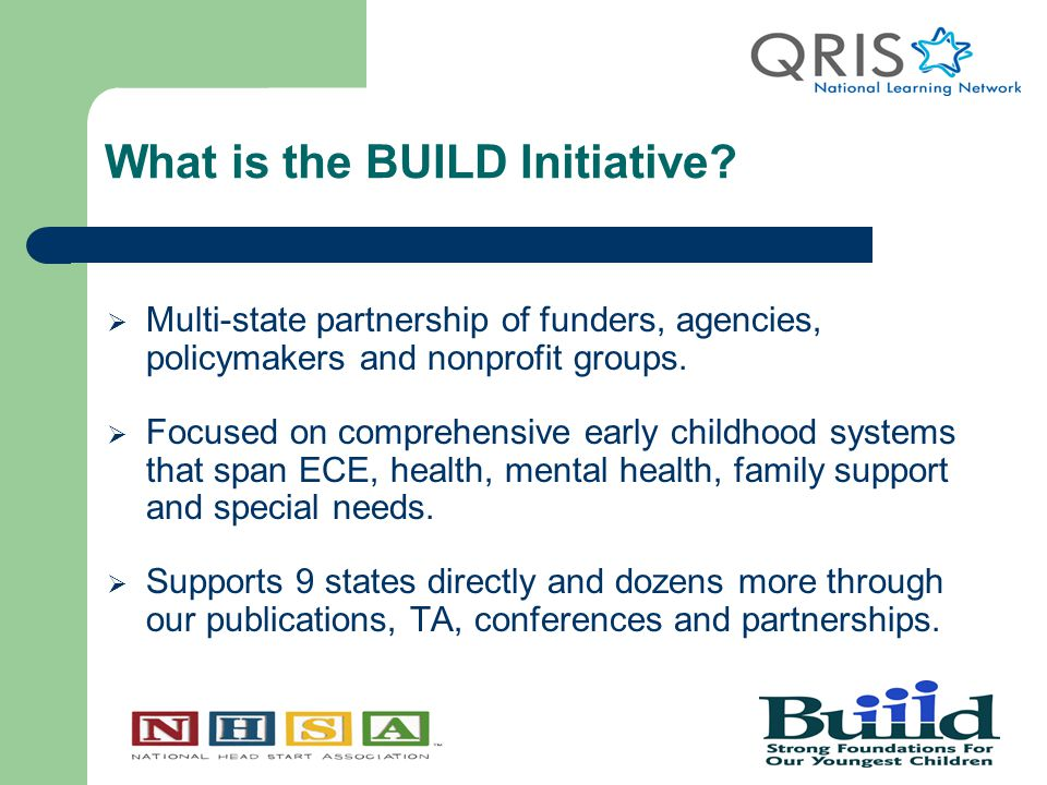 Head Start-QRIS Survey Highlights  In April 2011, NHSA and the BUILD Initiative surveyed Head Start-State Collaboration Directors about their knowledge, attitudes, and understanding of their state QRIS.