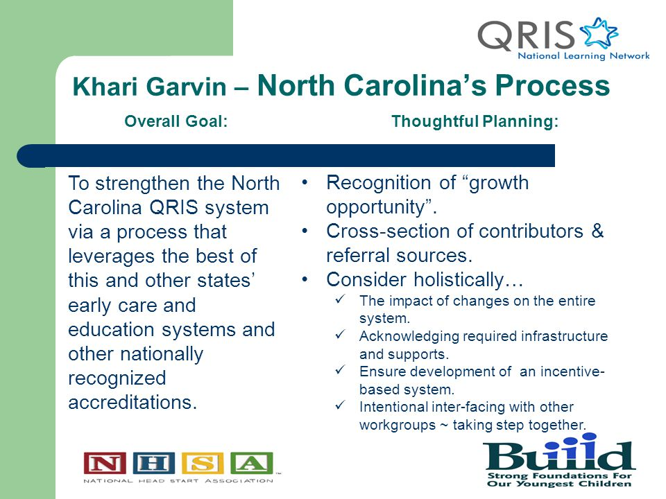 Khari Garvin – North Carolina's Process Overall Goal:Thoughtful Planning: To strengthen the North Carolina QRIS system via a process that leverages the best of this and other states' early care and education systems and other nationally recognized accreditations.
