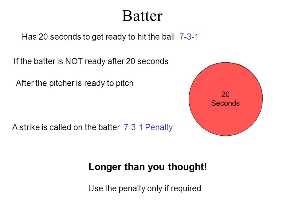 20 second clock starts Batter Has 20 seconds to get ready to hit the ball 7-3-1 4 seconds8 seconds12 seconds16 seconds Longer than you thought! 20 sec