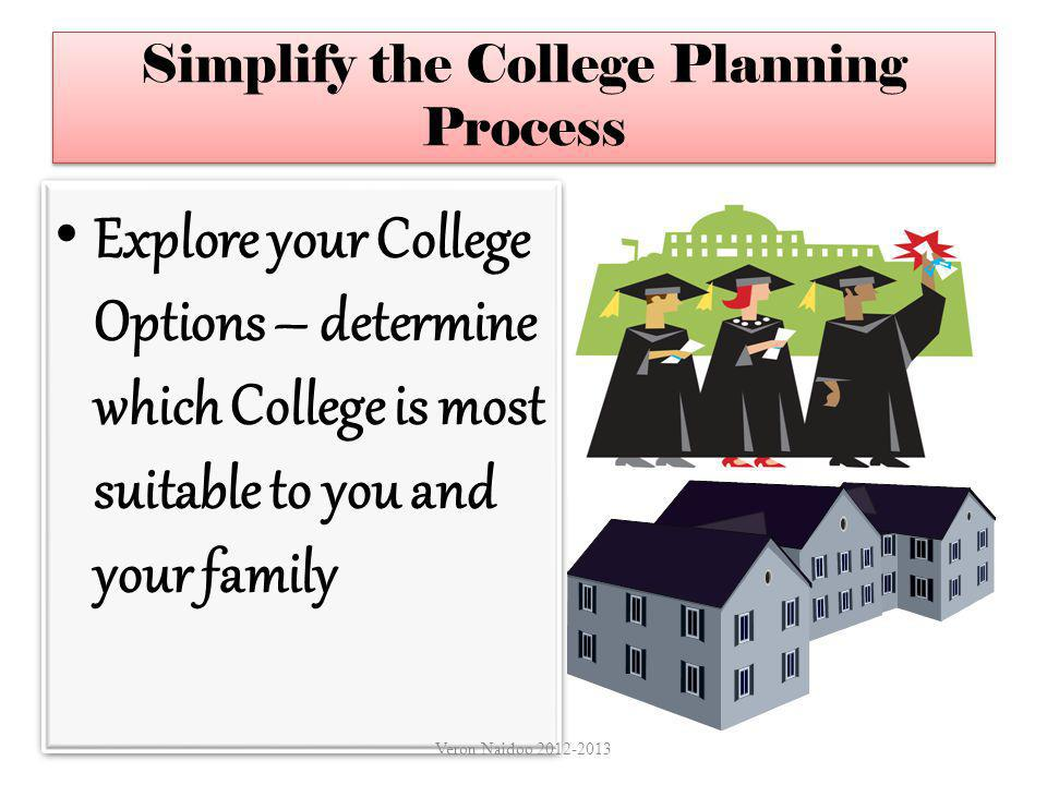 Simplify the College Planning Process Explore your College Options – determine which College is most suitable to you and your family Veron Naidoo 2012