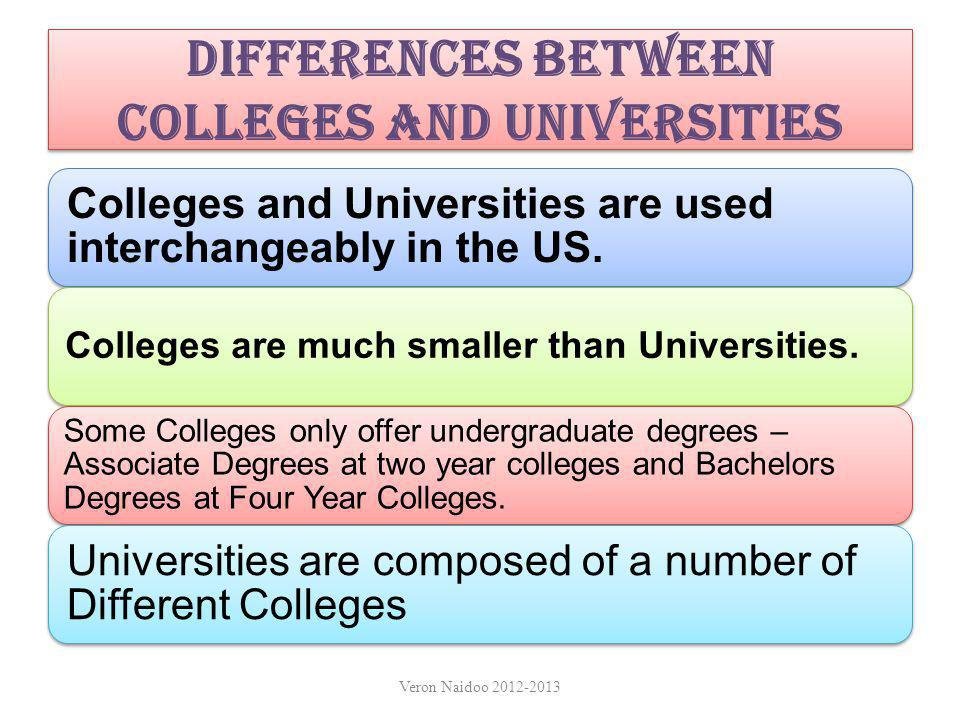 Colleges and Universities - What's the Difference Universities include a College of Liberal Arts, College of Humanities, College of Fine Arts etc.