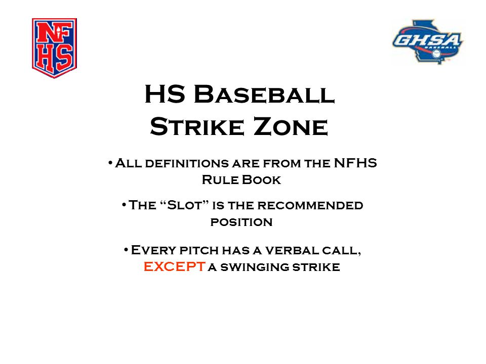 """HS Baseball Strike Zone All definitions are from the NFHS Rule Book The """"Slot"""" is the recommended position Every pitch has a verbal call, EXCEPT a swi"""