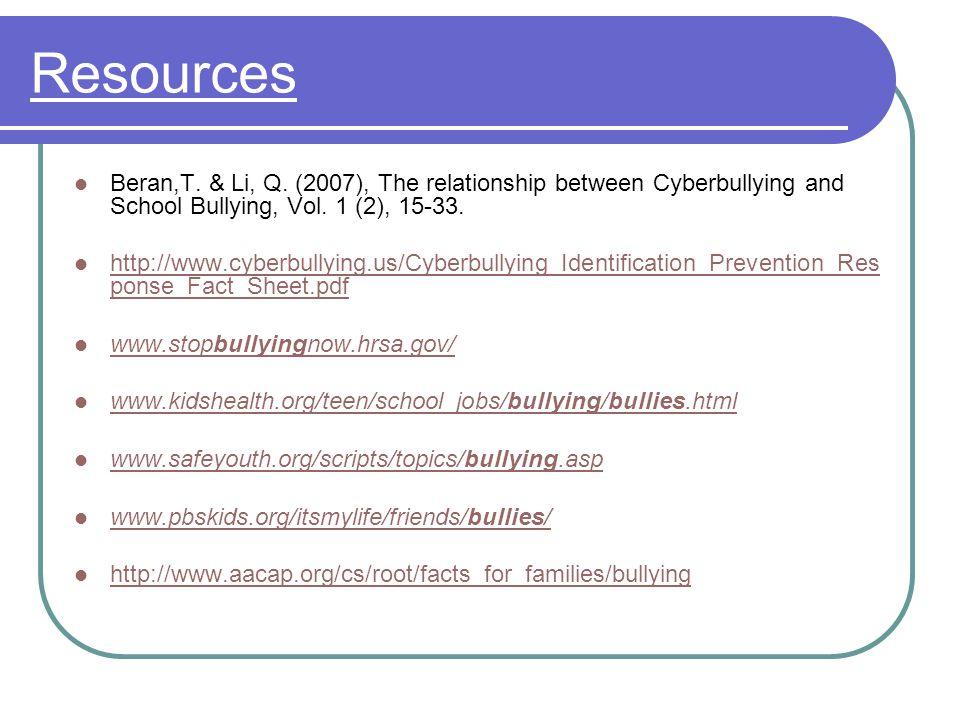 Resources Beran,T. & Li, Q.