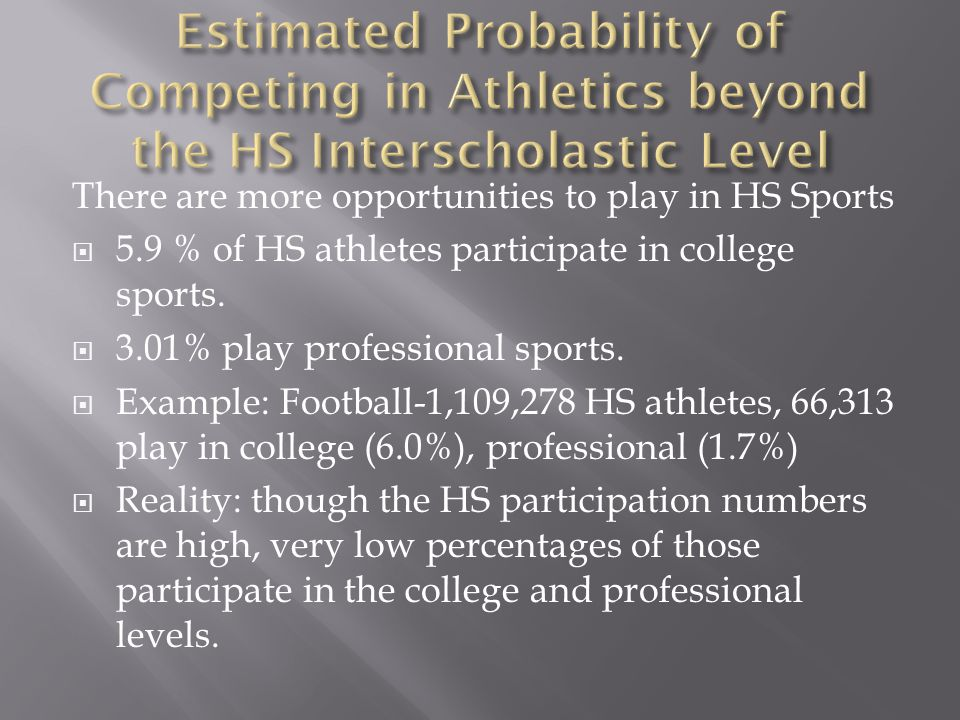 There are more opportunities to play in HS Sports  5.9 % of HS athletes participate in college sports.