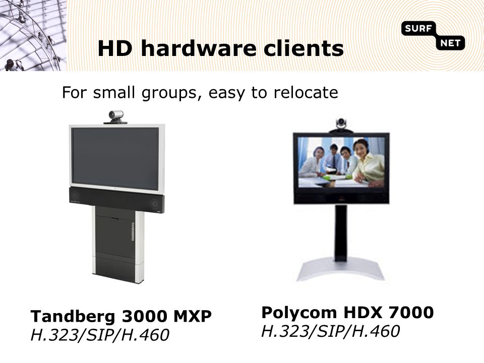 HD hardware clients Tandberg 3000 MXP H.323/SIP/H.460 Polycom HDX 7000 H.323/SIP/H.460 For small groups, easy to relocate