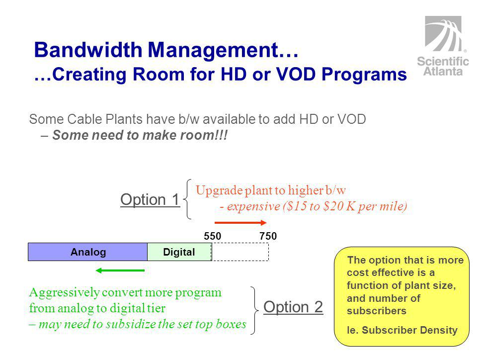 Bandwidth Management… …Creating Room for HD or VOD Programs Some Cable Plants have b/w available to add HD or VOD – Some need to make room!!.