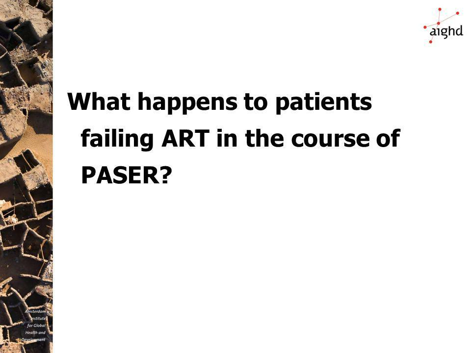 What happens to patients failing ART in the course of PASER?