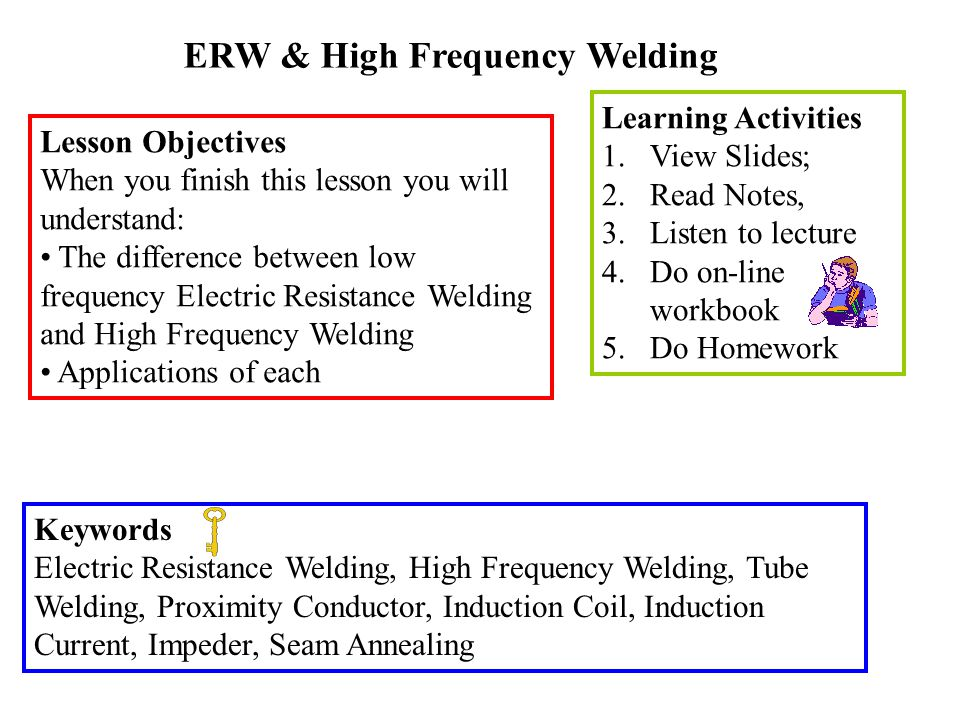ERW & High Frequency Welding Lesson Objectives When you finish this lesson you will understand: The difference between low frequency Electric Resistan