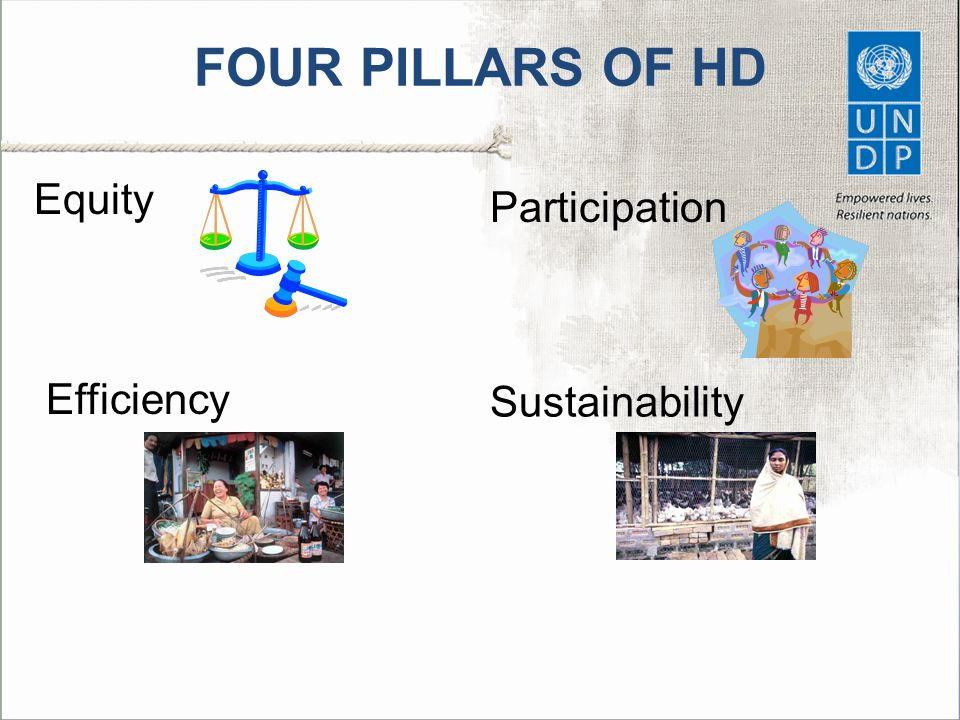 FOUR PILLARS OF HD Equity Efficiency Participation Sustainability