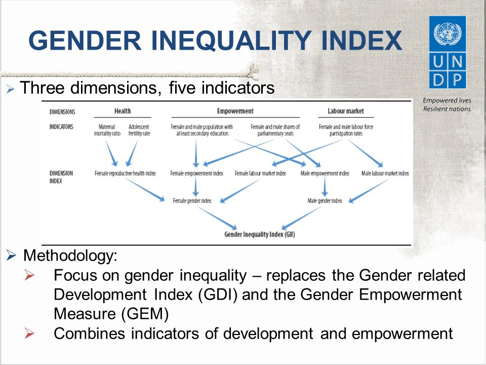 GENDER INEQUALITY INDEX  Three dimensions, five indicators  Methodology:  Focus on gender inequality – replaces the Gender related Development Index (GDI) and the Gender Empowerment Measure (GEM)  Combines indicators of development and empowerment