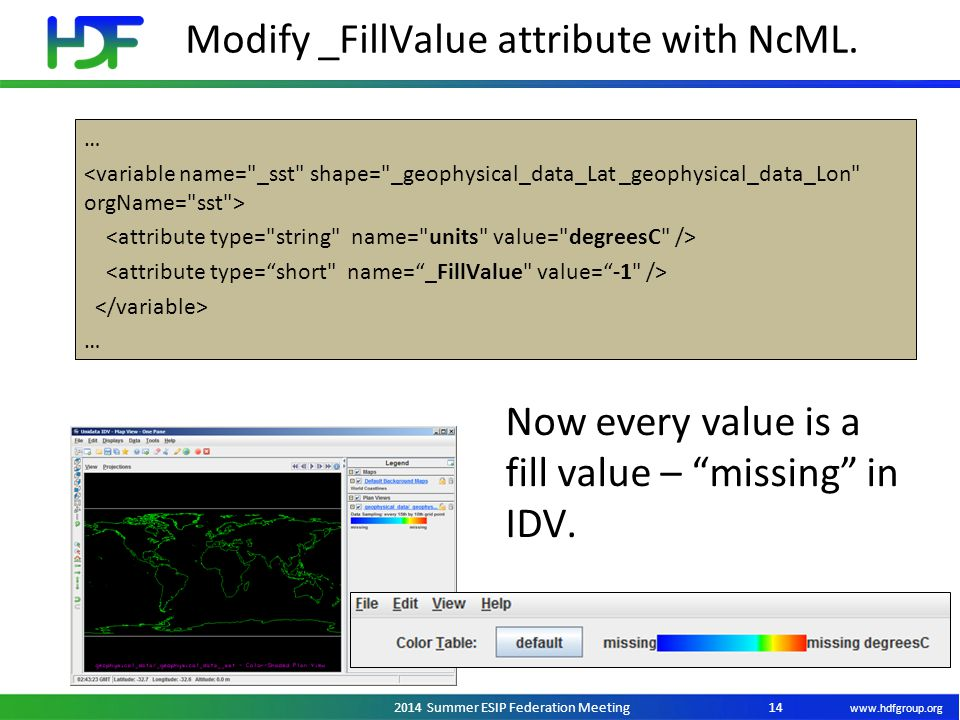 "www.hdfgroup.org 2014 Summer ESIP Federation Meeting Modify _FillValue attribute with NcML. 14 … … Now every value is a fill value – ""missing"" in IDV."