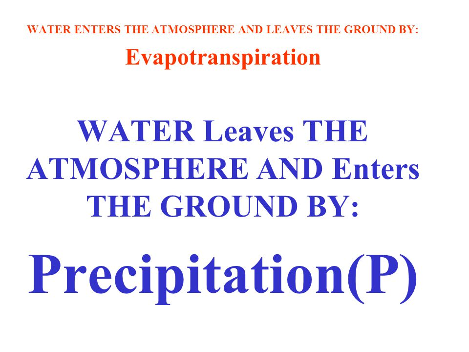 WATER ENTERS THE ATMOSPHERE AND LEAVES THE GROUND BY: Evapotranspiration WATER Leaves THE ATMOSPHERE AND Enters THE GROUND BY: Precipitation(P)