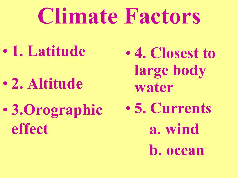 Climate Factors 1. Latitude 2. Altitude 3.Orographic effect 4. Closest to large body water 5. Currents a. wind b. ocean