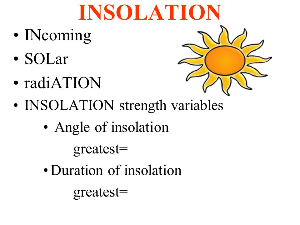 INSOLATION INcoming SOLar radiATION INSOLATION strength variables Angle of insolation greatest= Duration of insolation greatest=
