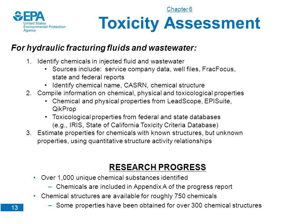 13 For hydraulic fracturing fluids and wastewater: Chapter 6 Toxicity Assessment 1.Identify chemicals in injected fluid and wastewater Sources include