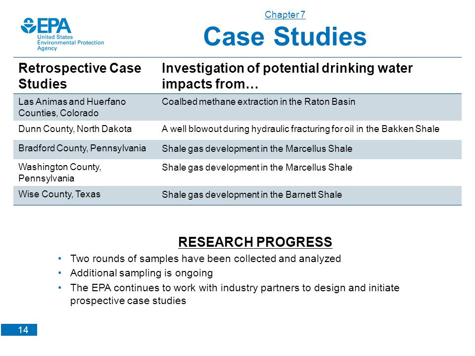 14 Chapter 7 Case Studies Retrospective Case Studies Investigation of potential drinking water impacts from… Las Animas and Huerfano Counties, Colorad