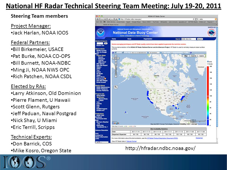 National HF Radar Technical Steering Team Meeting: July 19-20, 2011 Steering Team members Project Manager: Jack Harlan, NOAA IOOS Federal Partners: Bill Birkemeier, USACE Pat Burke, NOAA CO-OPS Bill Burnett, NOAA-NDBC Ming Ji, NOAA NWS OPC Rich Patchen, NOAA CSDL Elected by RAs: Larry Atkinson, Old Dominion Pierre Flament, U Hawaii Scott Glenn, Rutgers Jeff Paduan, Naval Postgrad Nick Shay, U Miami Eric Terrill, Scripps Technical Experts: Don Barrick, COS Mike Kosro, Oregon State http://hfradar.ndbc.noaa.gov/