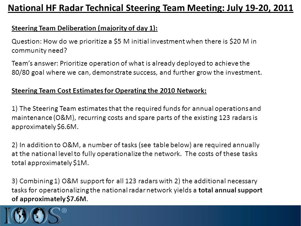 National HF Radar Technical Steering Team Meeting: July 19-20, 2011 Steering Team Deliberation (majority of day 1): Question: How do we prioritize a $5 M initial investment when there is $20 M in community need.