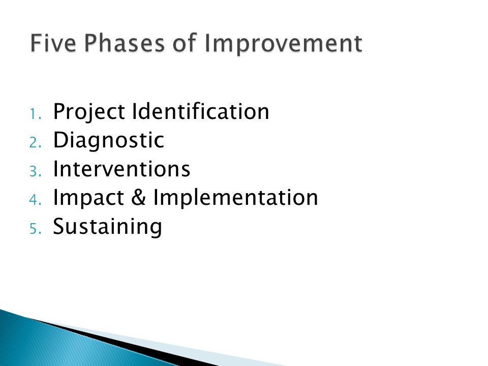1. Project Identification 2. Diagnostic 3. Interventions 4. Impact & Implementation 5. Sustaining