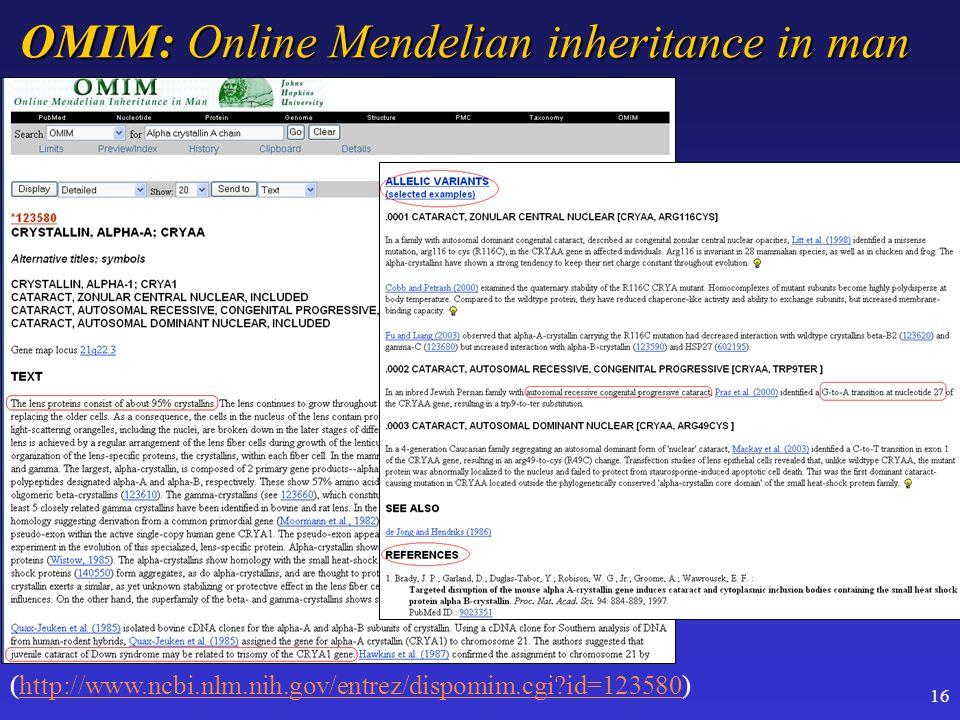 16 OMIM: Online Mendelian inheritance in man (http://www.ncbi.nlm.nih.gov/entrez/dispomim.cgi id=123580)http://www.ncbi.nlm.nih.gov/entrez/dispomim.cgi id=123580