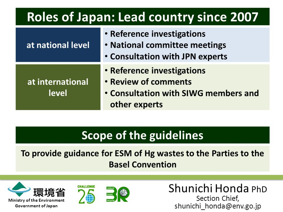 Ministry of the Environment Government of Japan Roles of Japan: Lead country since 2007 at national level Reference investigations National committee meetings Consultation with JPN experts at international level Reference investigations Review of comments Consultation with SIWG members and other experts Scope of the guidelines To provide guidance for ESM of Hg wastes to the Parties to the Basel Convention Shunichi Honda PhD Section Chief, shunichi_honda@env.go.jp