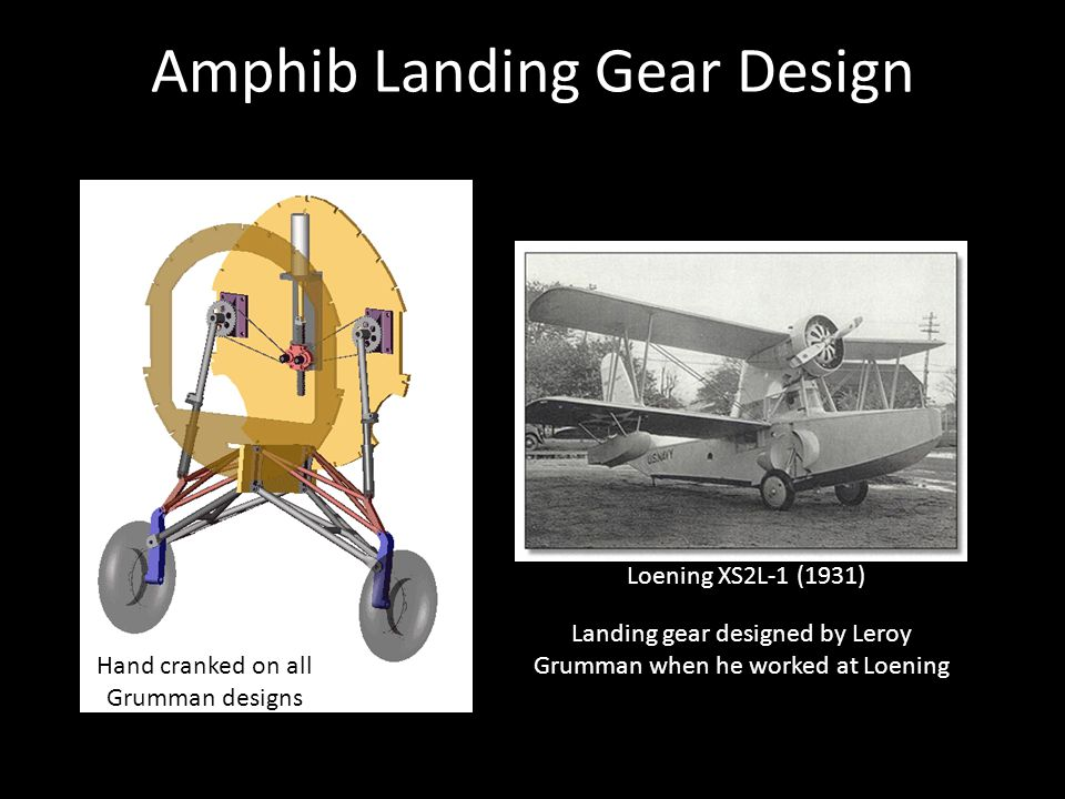 Amphib Landing Gear Design Loening XS2L-1 (1931) Landing gear designed by Leroy Grumman when he worked at Loening Hand cranked on all Grumman designs