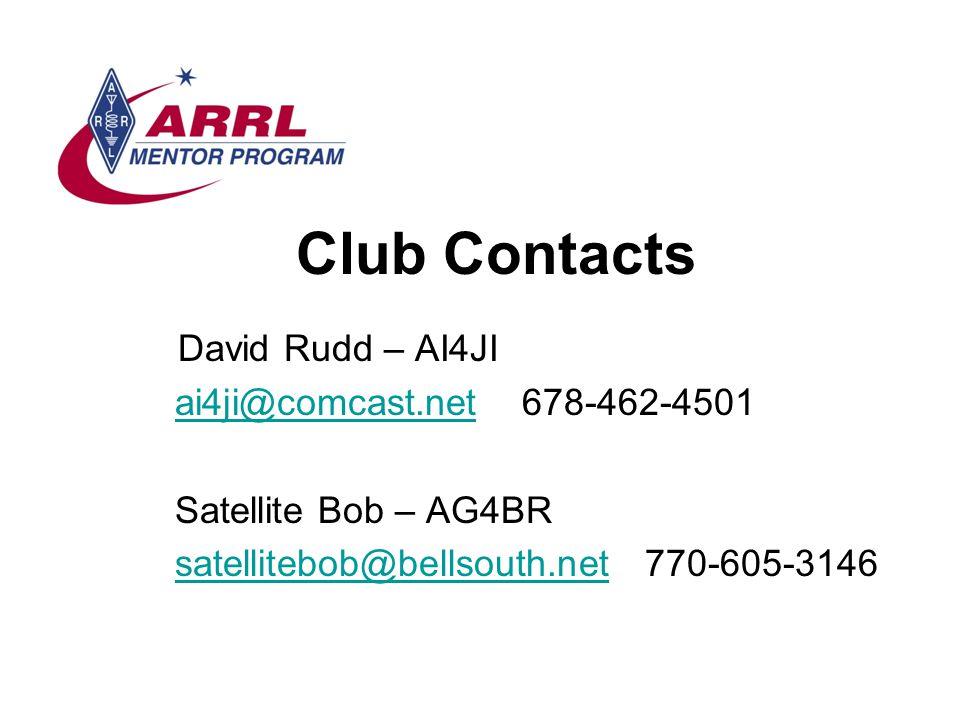 Club Contacts David Rudd – AI4JI ai4ji@comcast.net 678-462-4501ai4ji@comcast.net Satellite Bob – AG4BR satellitebob@bellsouth.net 770-605-3146satellit