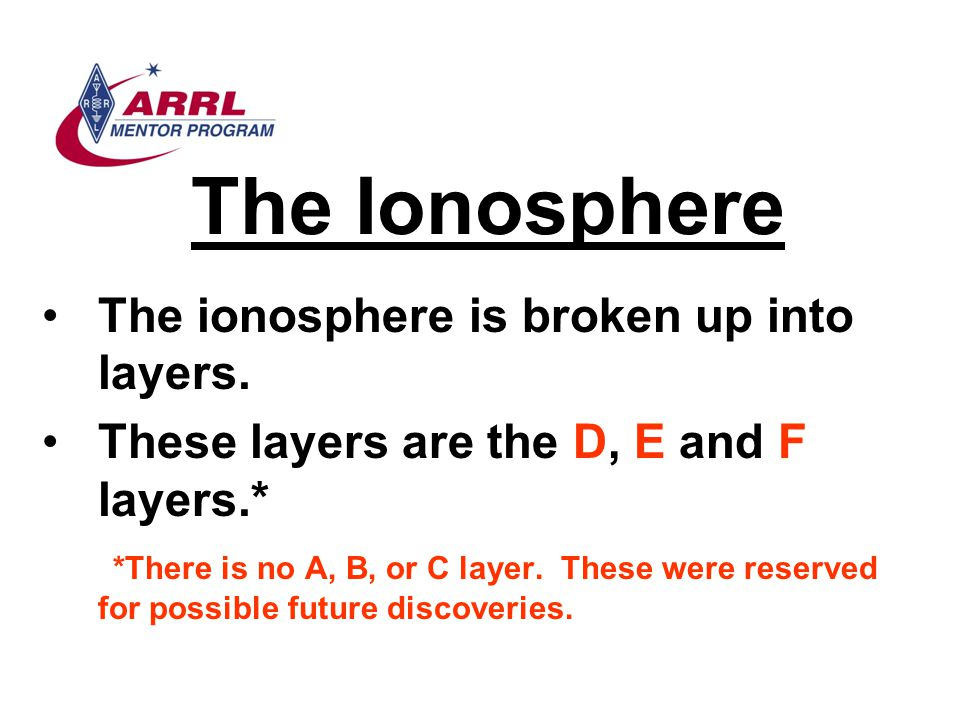 The Ionosphere The ionosphere is broken up into layers. These layers are the D, E and F layers.* *There is no A, B, or C layer. These were reserved fo