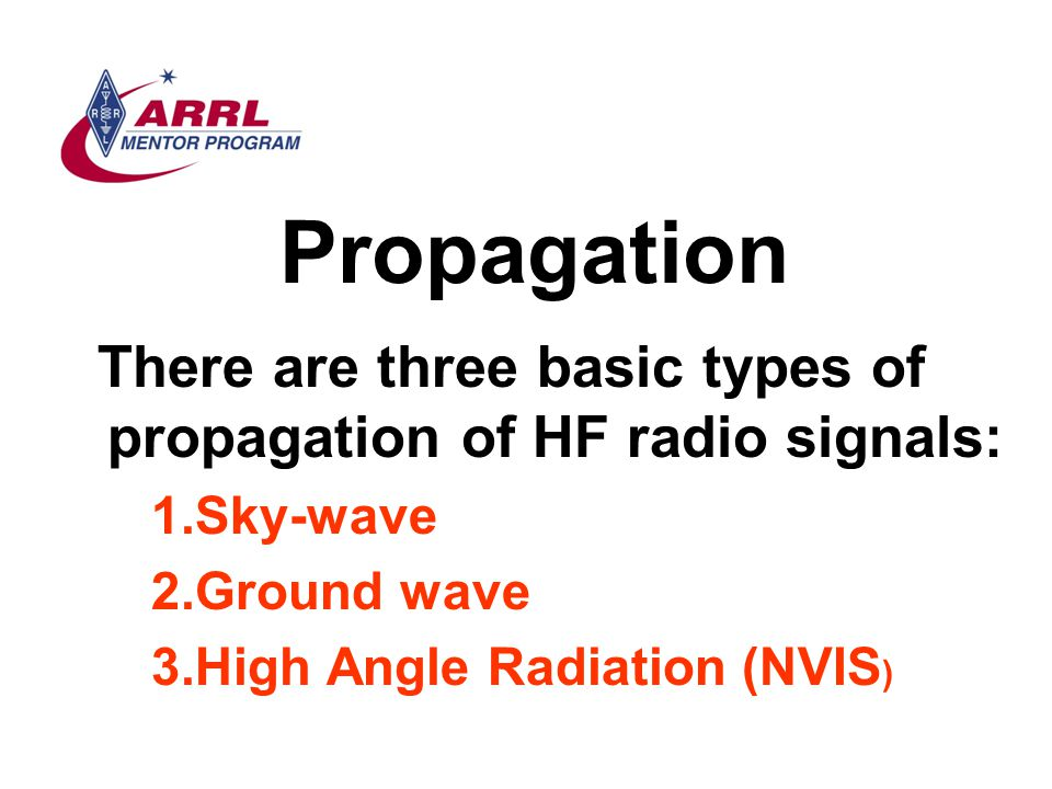 Propagation There are three basic types of propagation of HF radio signals: 1.Sky-wave 2.Ground wave 3.High Angle Radiation (NVIS )