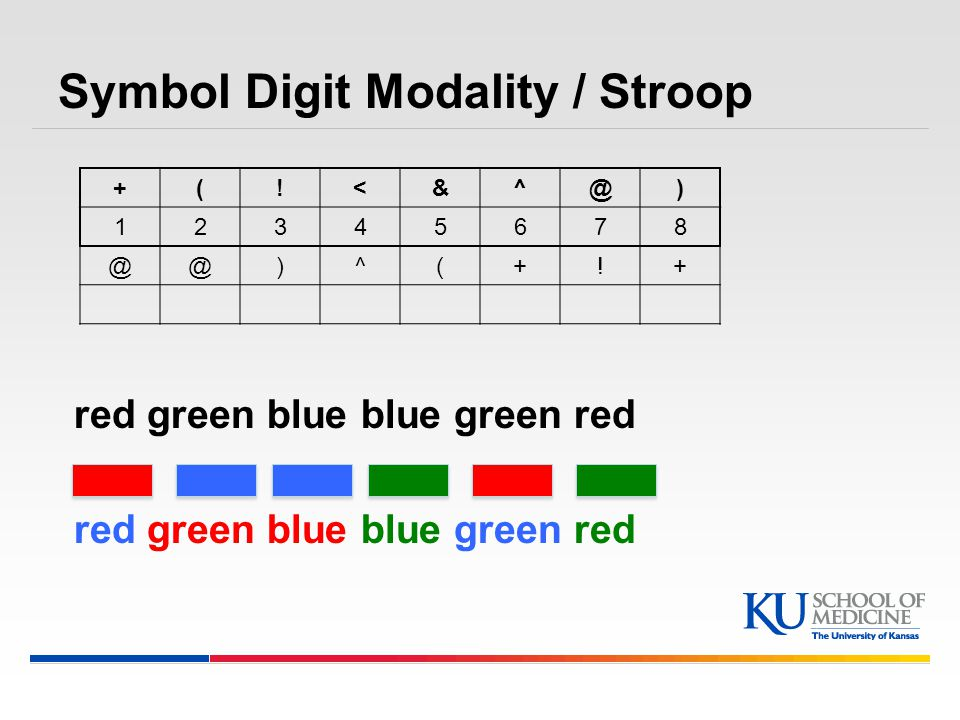 Symbol Digit Modality / Stroop red green blue blue green red +(!<&^@) 12345678 @@)^(+!+